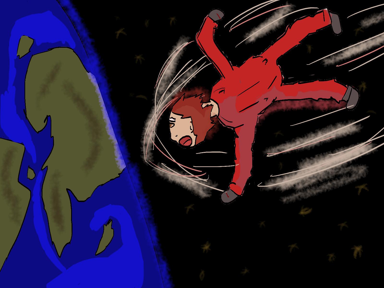 Boy falling to earth