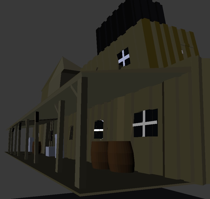 Wild West haunted town 3d building 1