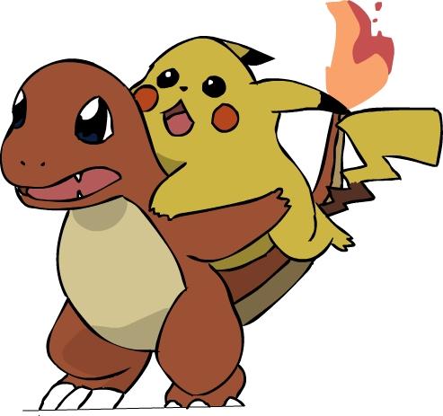 Pikachu and Charmander