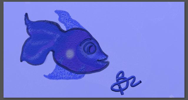 Fish drawn with wacom tablet pink behind