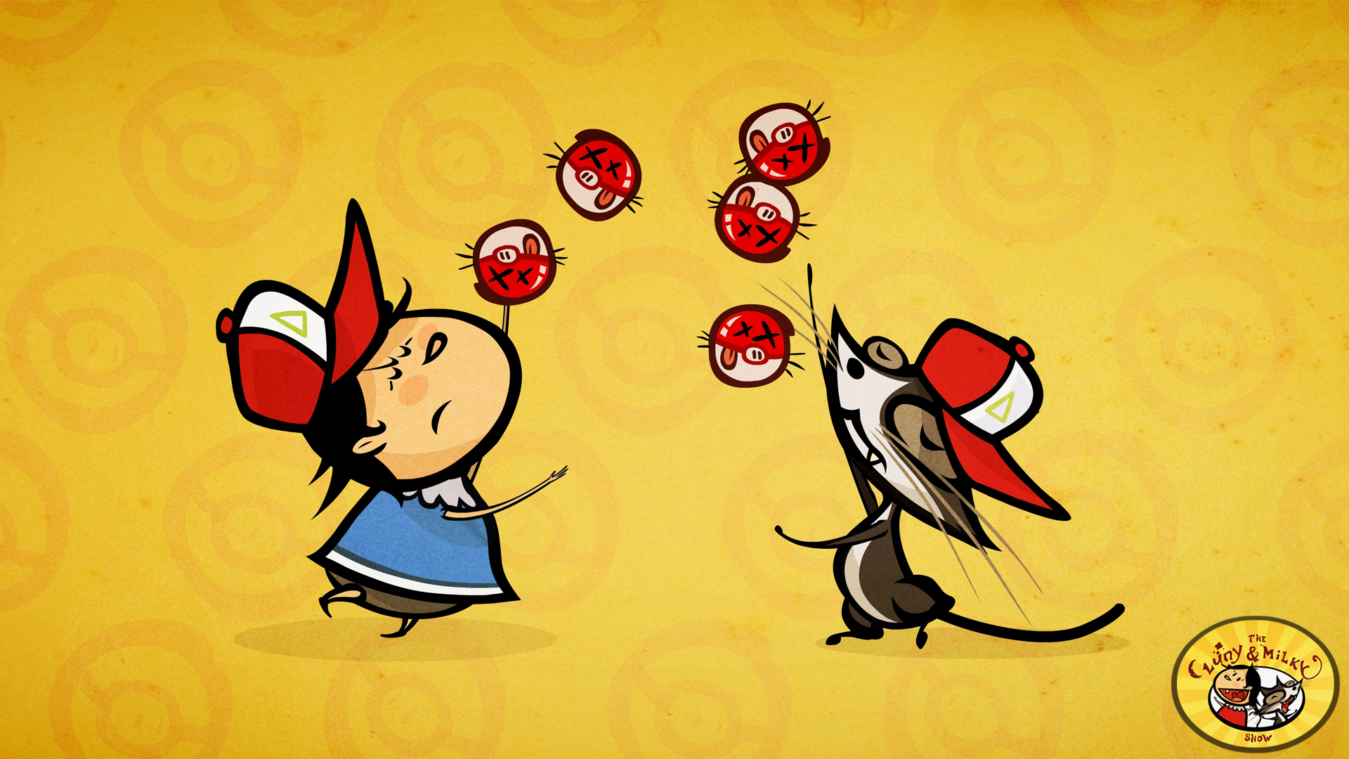 Luny juggling pokeballs with Milky