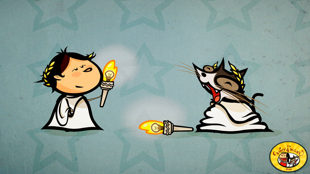 Milky and Luny take care of the torch