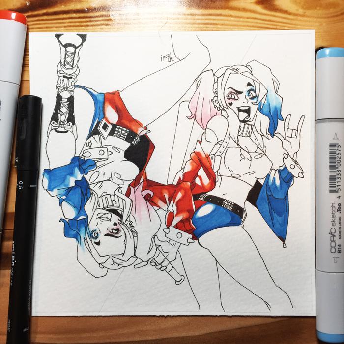 Inktober day 11 - Harley Quinn