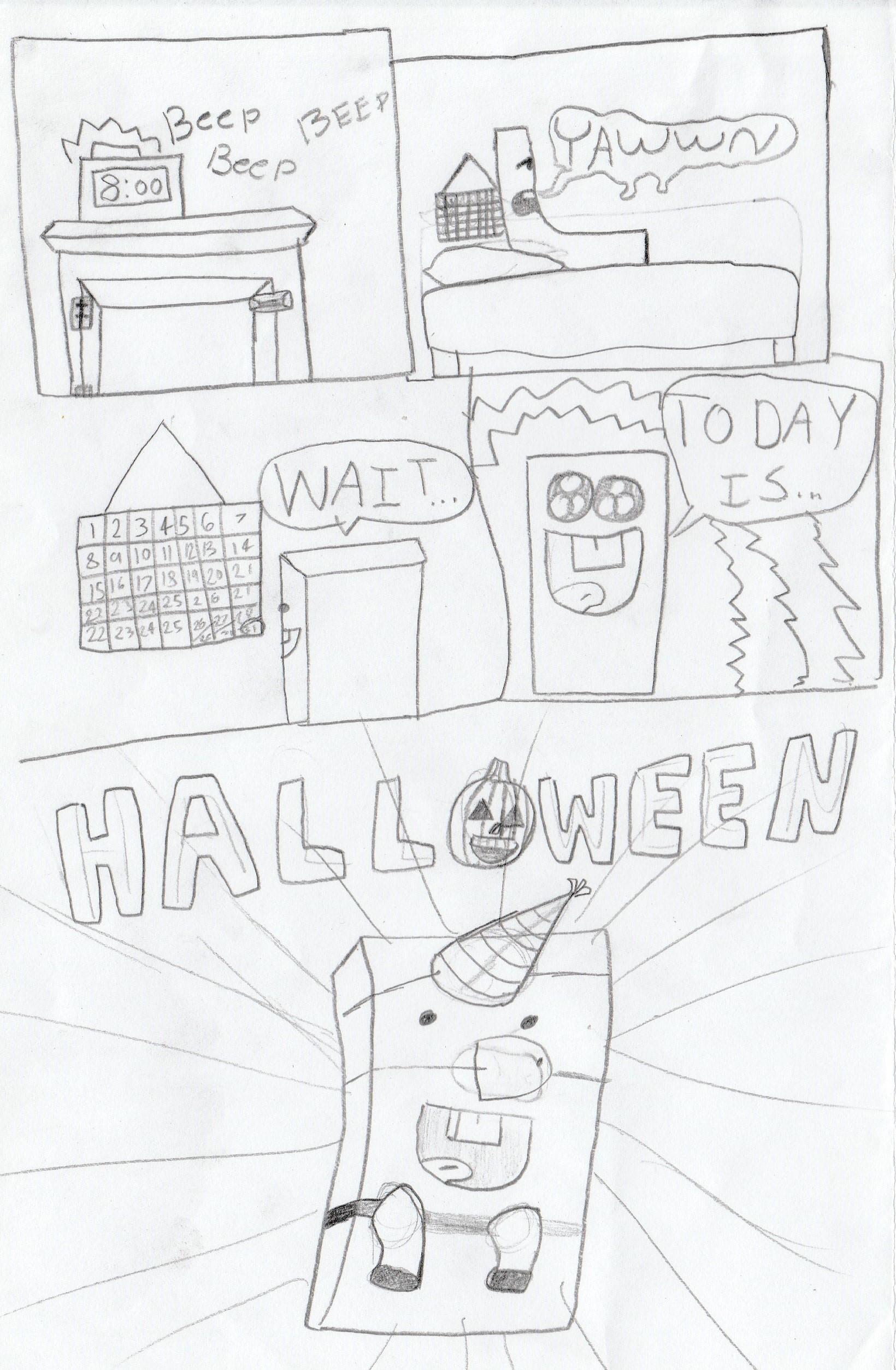 """Pencil and Eraser-Halloween""(rough draft) pg 1"