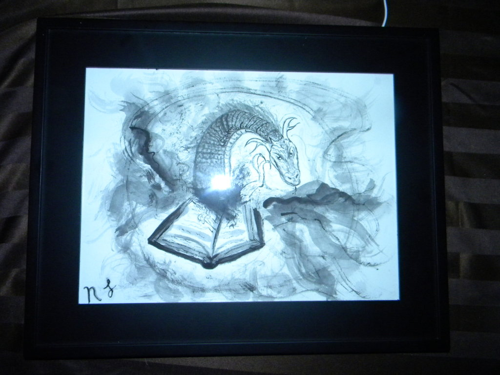 Book Worm: Ink on Canvas