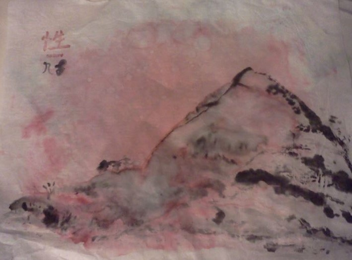 Mountain: Sume' ink and water color on rice paper