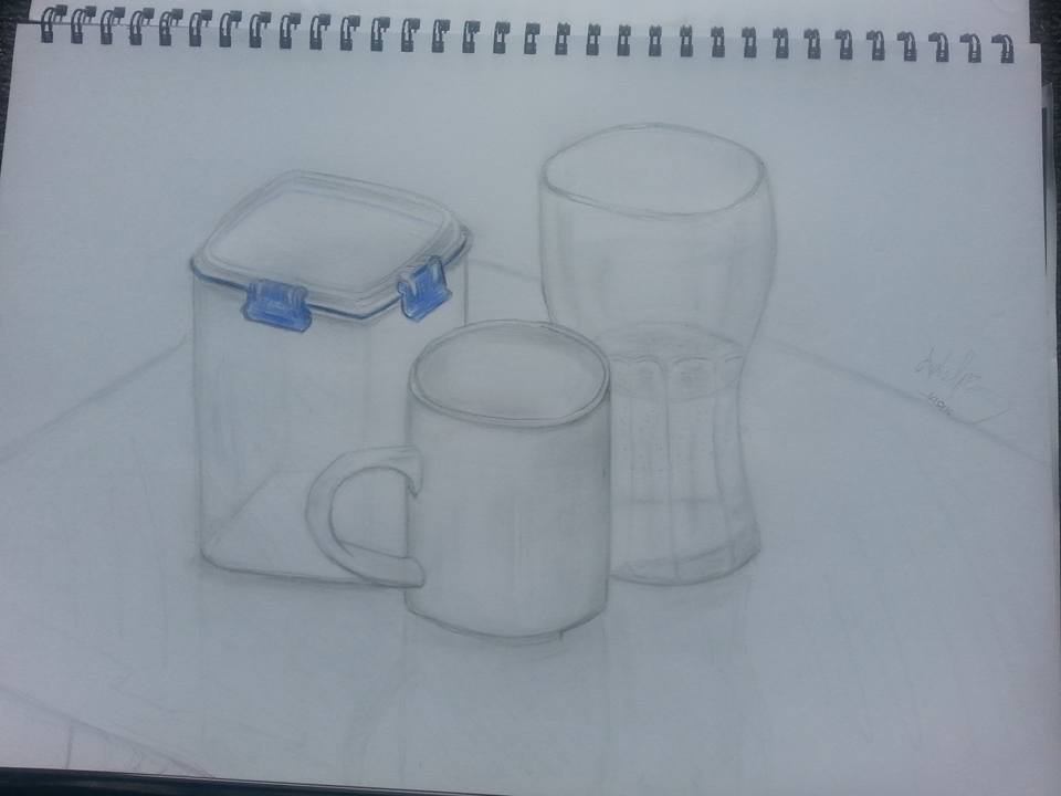 Still Life of cups and container by April Phelps