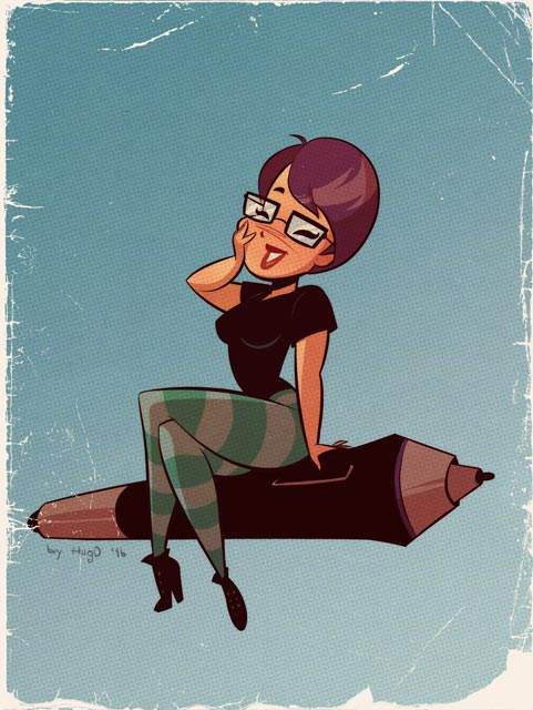 Commission - Patricia M Hung - Cartoon PinUp