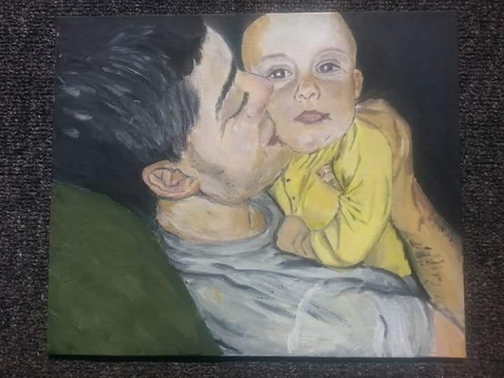 Proud Dad kisses painting by April Phelpa