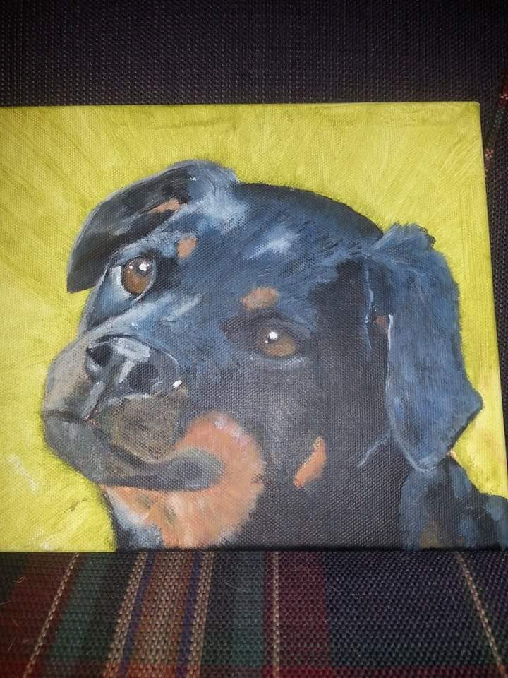 Rottweiler Pup Jonah painting by April Phelps
