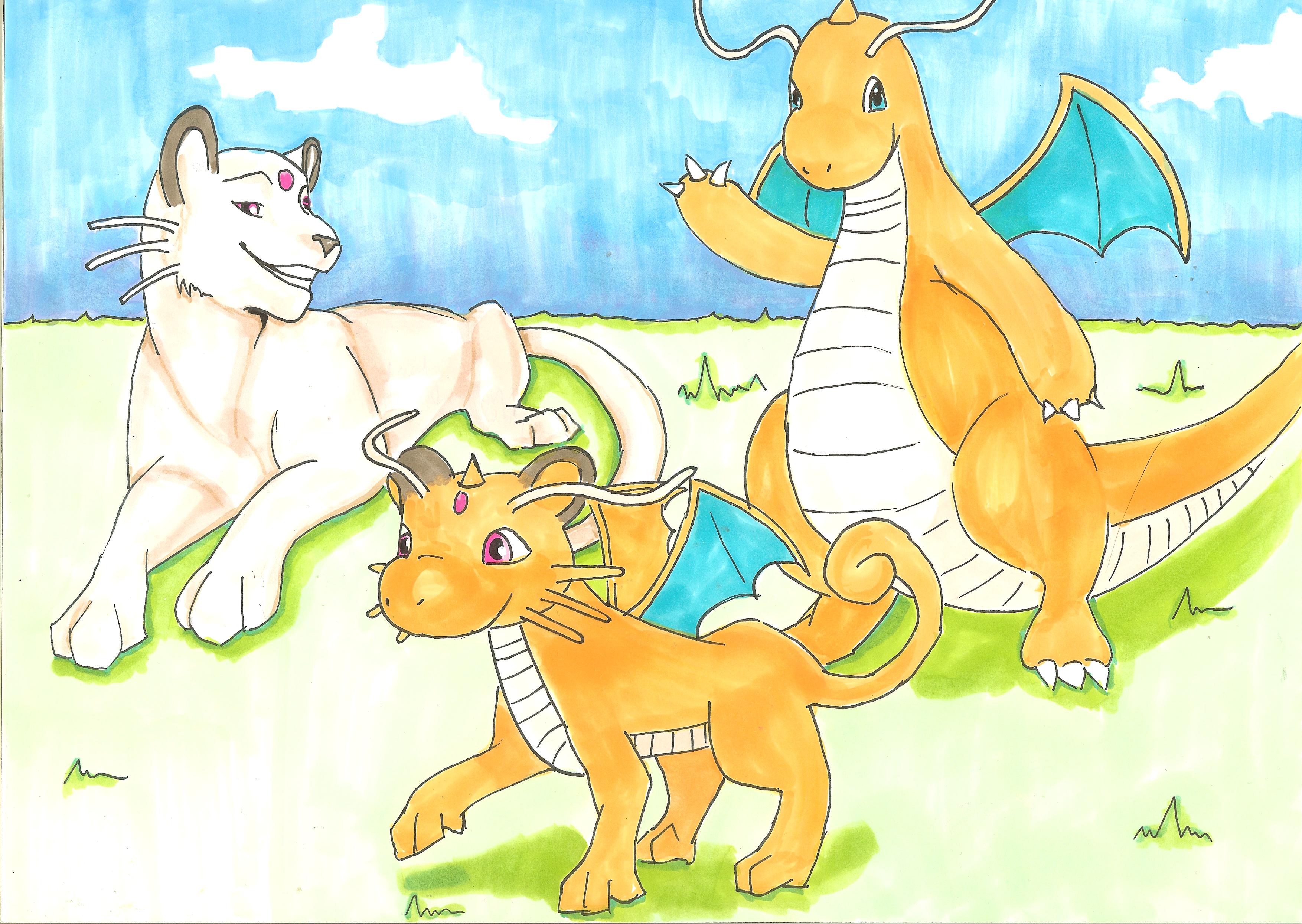 Persian and Dragonite wave their Dragonsian goodbye