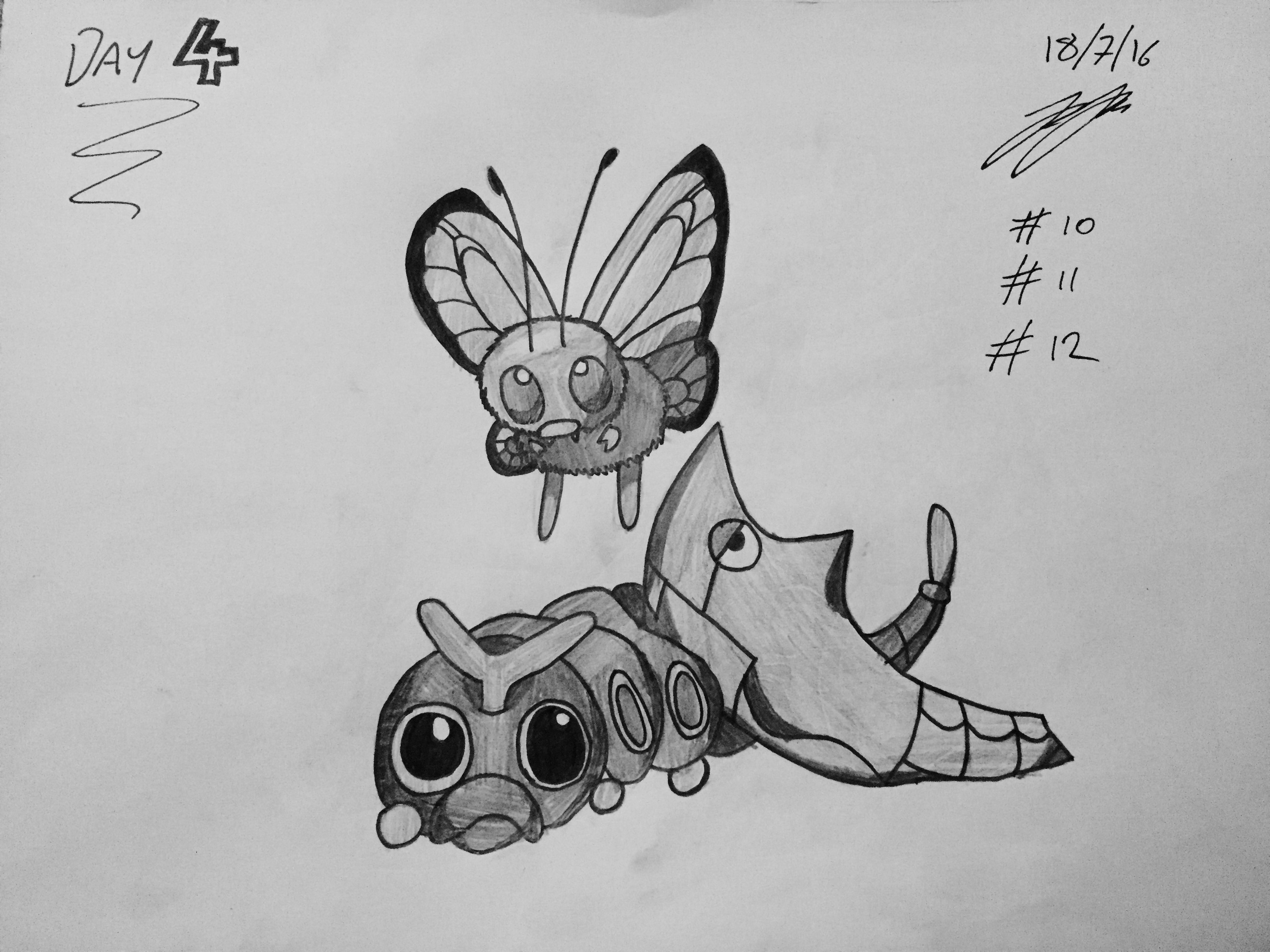 #10 Caterpie #11 Metapod #12 Butterfree