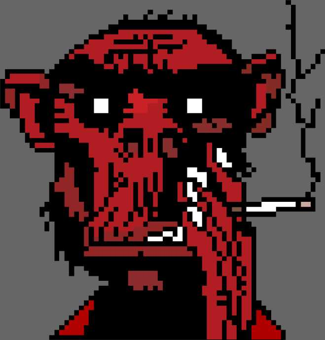 Fire coming out of the monkey's head (Pixel Art)
