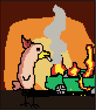 This is a picture of my profile picture, it is a chicken with a flaming car next to it