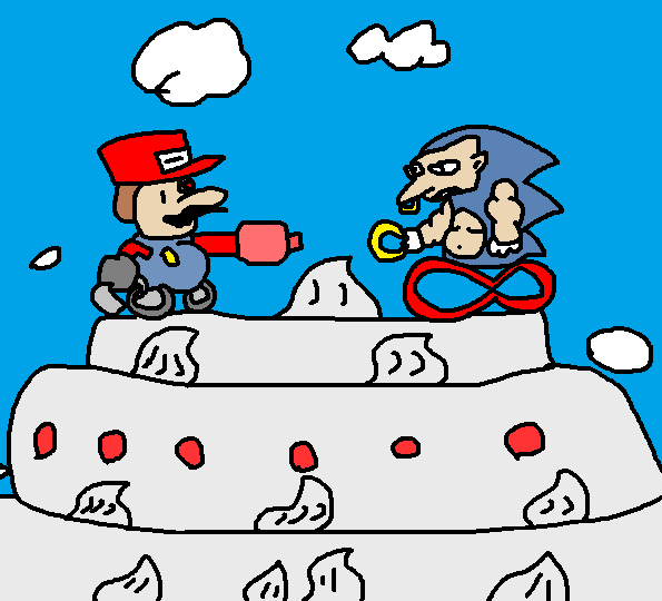 Sonic fighting Cyborg Mario on a giant cake in the sky