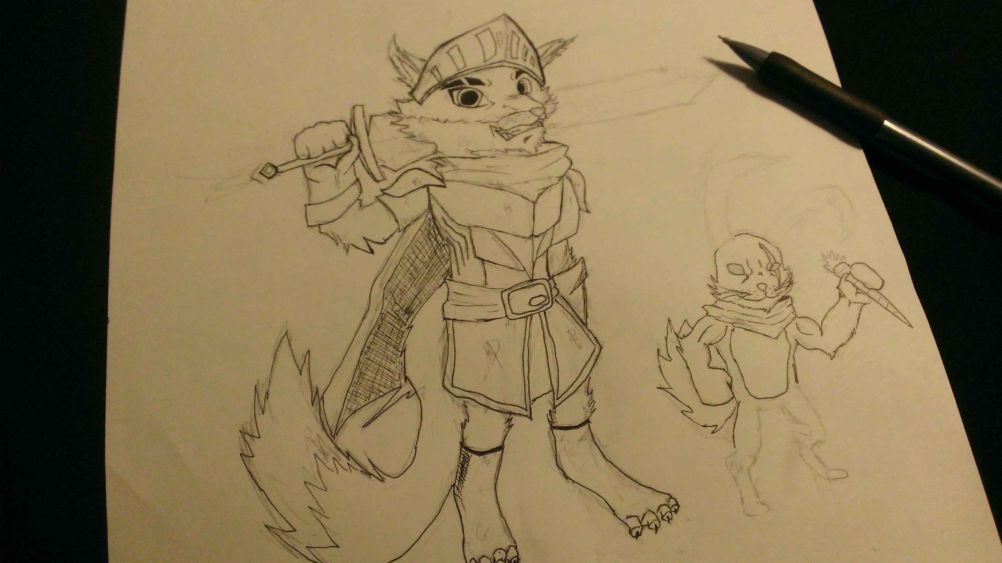 mid sketch of the hero and pet challange by GamingGeek