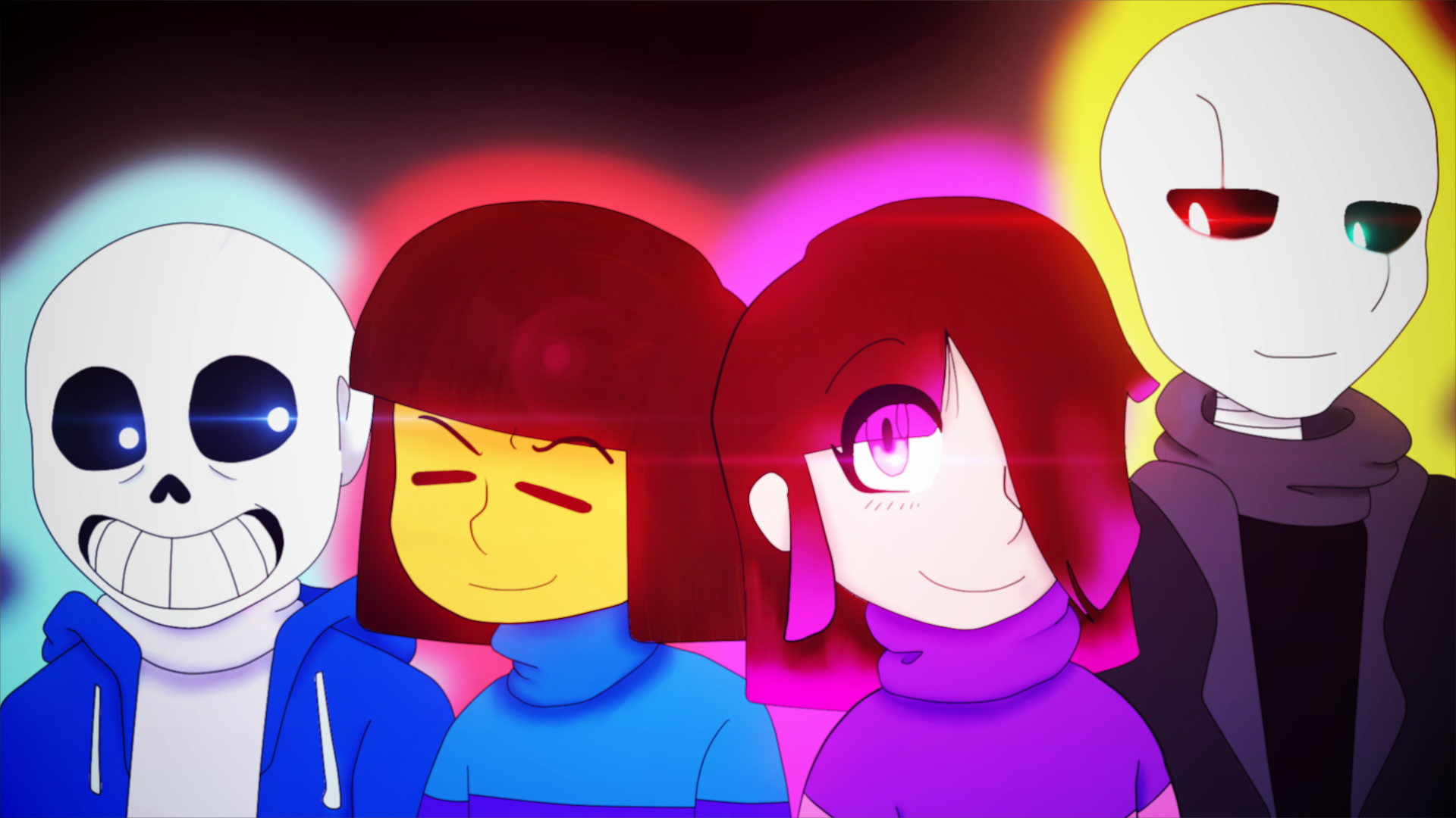 Glitchtale - Sans, Frisk, Betty, and Gaster