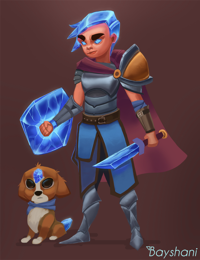A Crystal Warrior and His Pet
