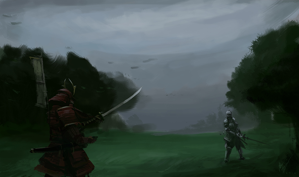 Late knight sketch - Samurai Vs Knight