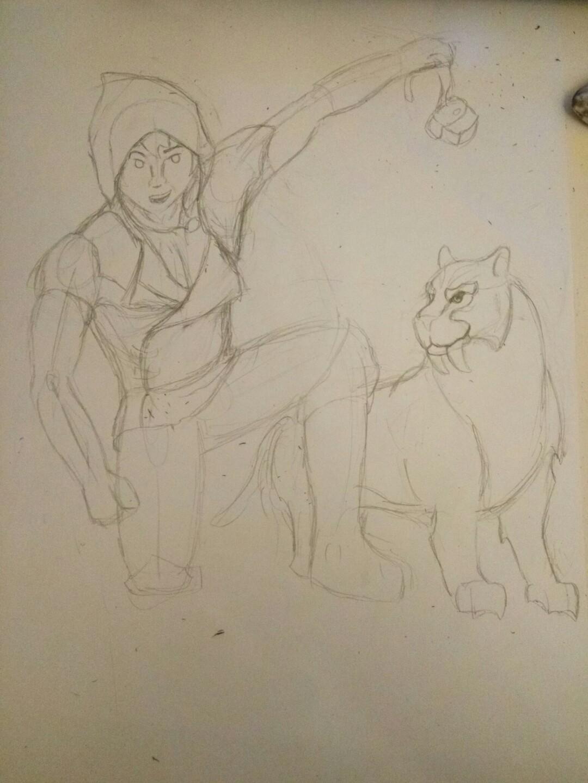 Hero and pet challenge sketch