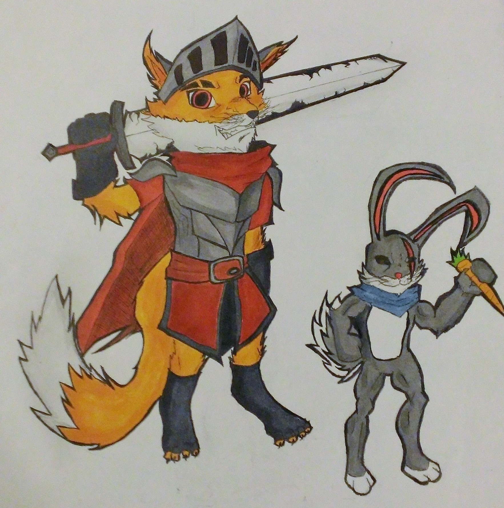 Hero and Pet Competition!Fox knight and Rabbit Sidekick by GamingGeek