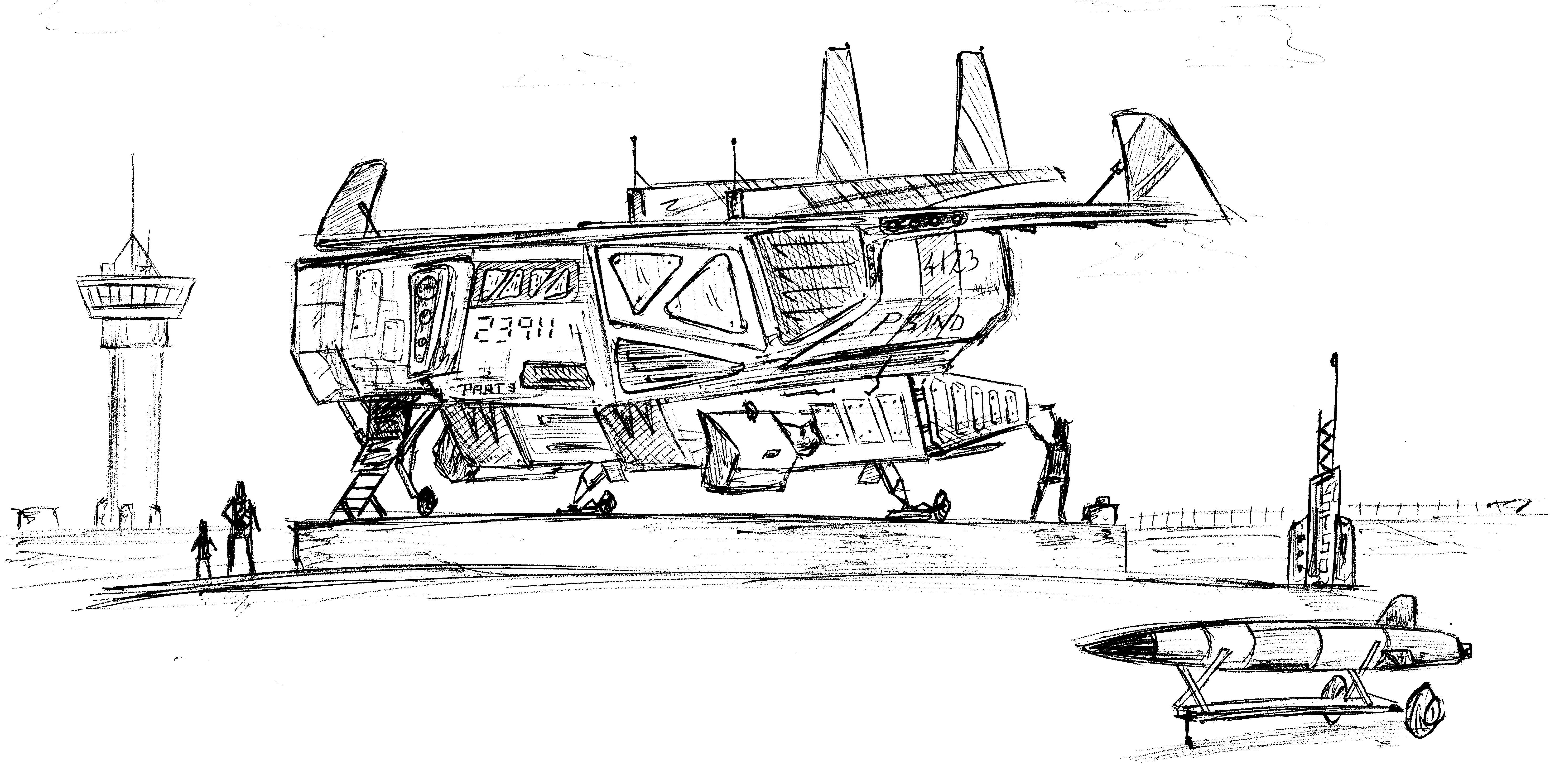 sci-fi Gunship Sketch
