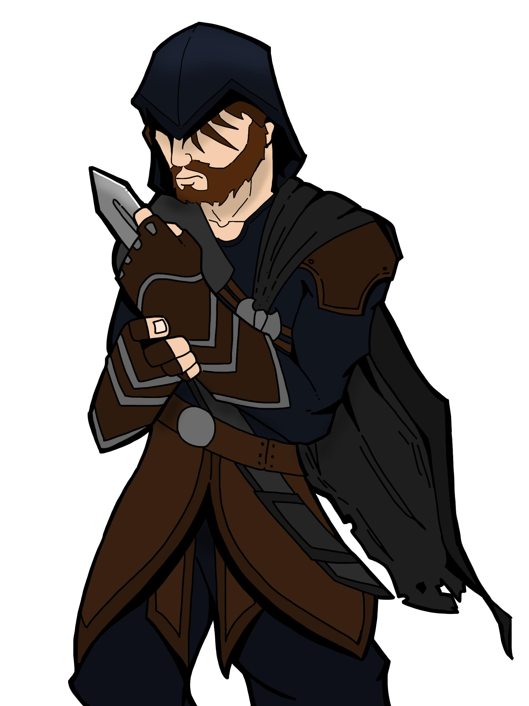 Hawk the rogue assassin (character design drawing)