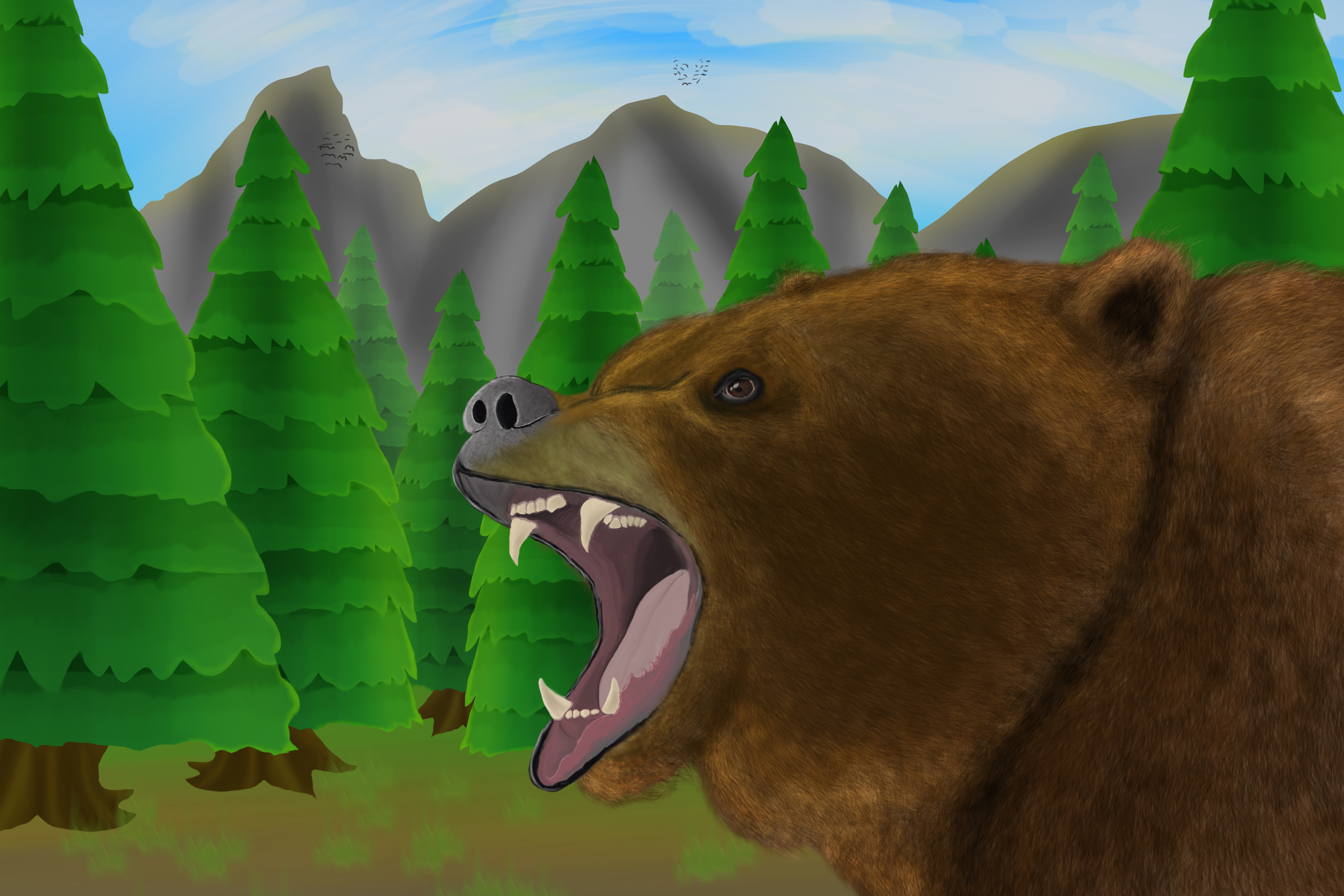 Bear in the wild - Jazza landscape background