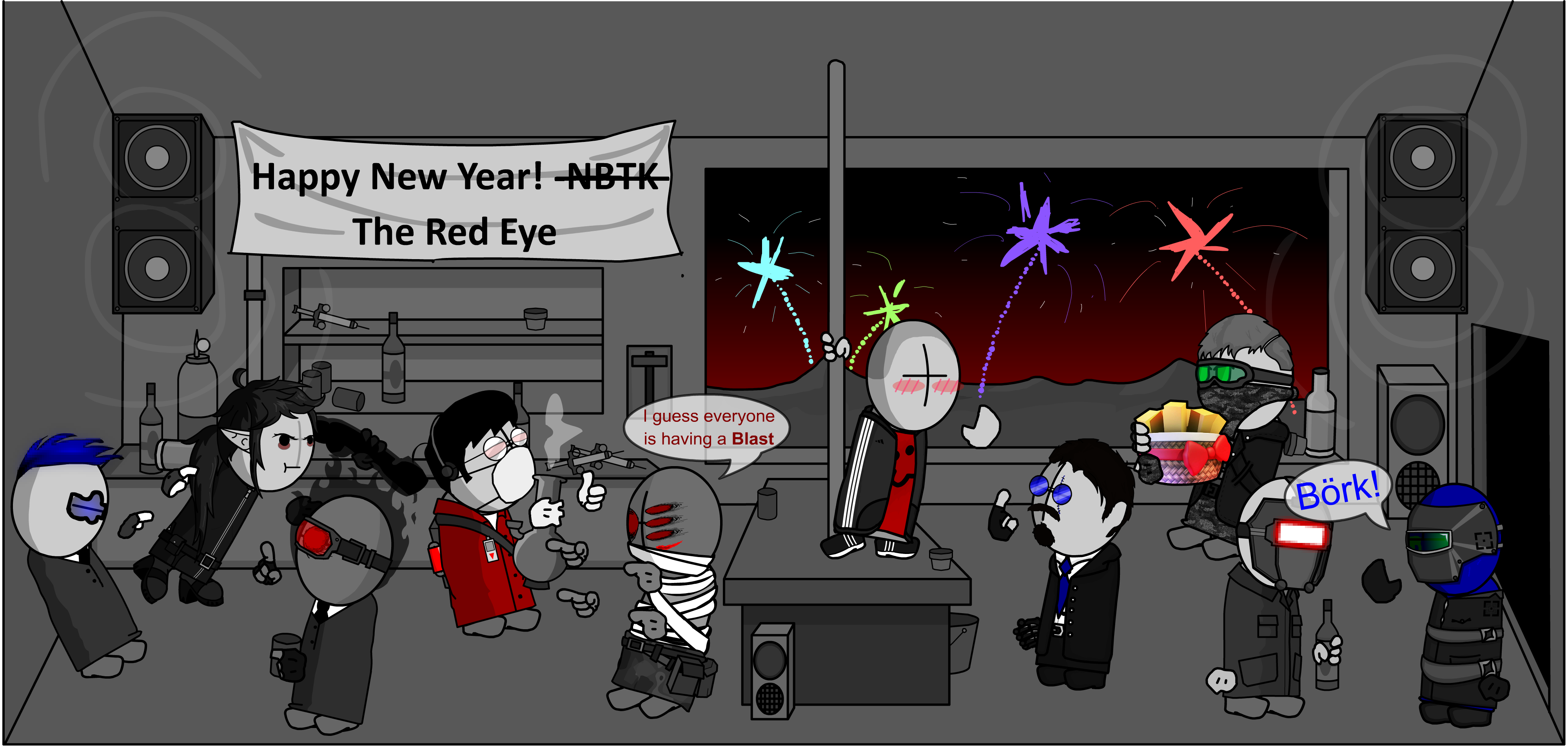 New years Postcard thinggy for some groupchat im in