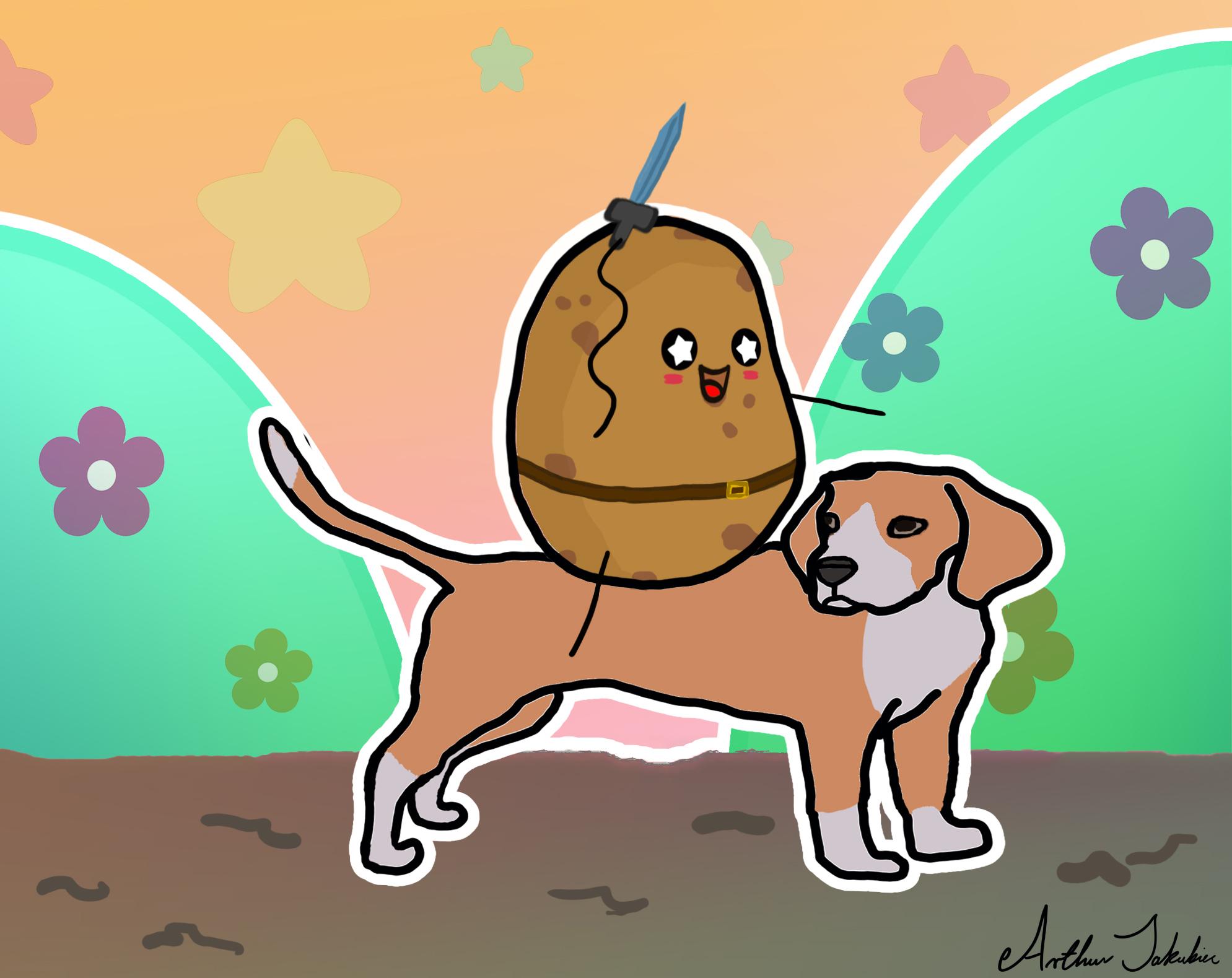 Potato with Sword Riding a Beagle