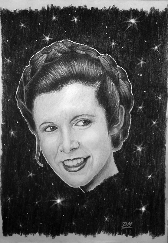 Princess Leia - Carrie Fisher Charcoal Drawing