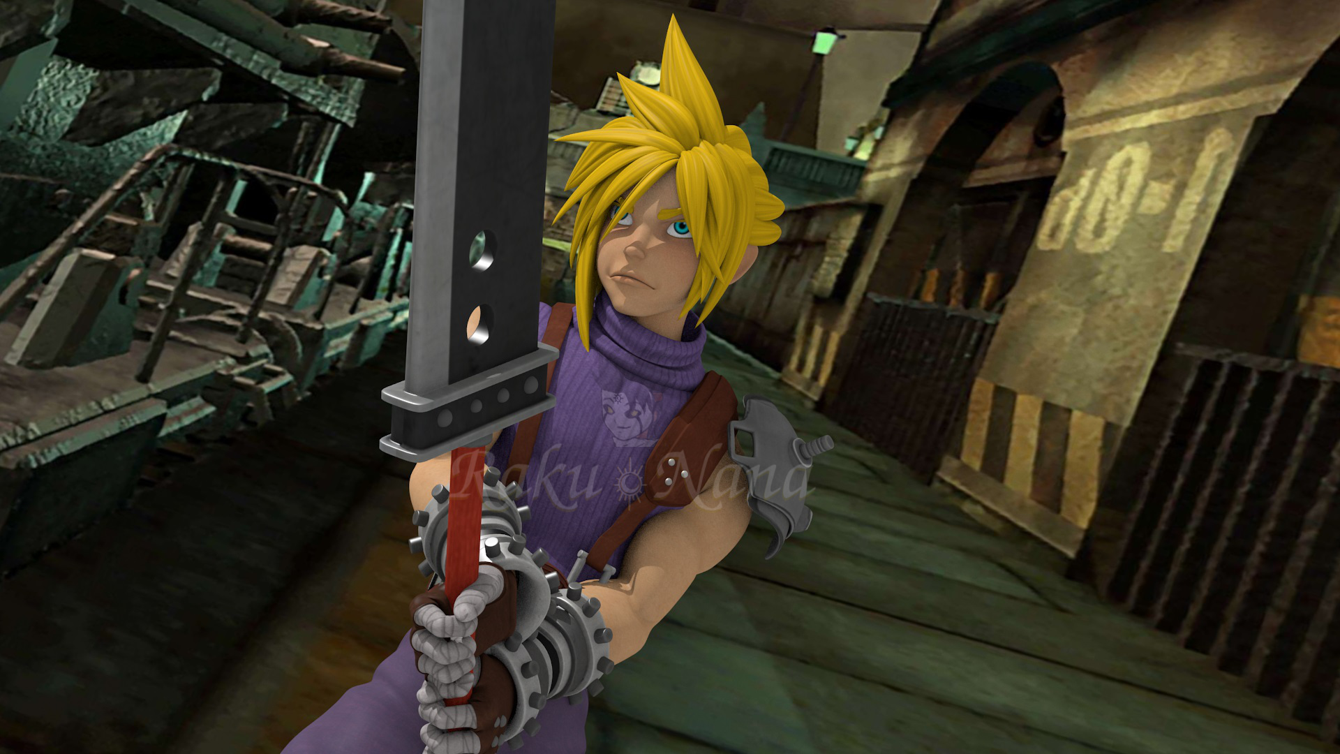 Cloud Strife 3D Render