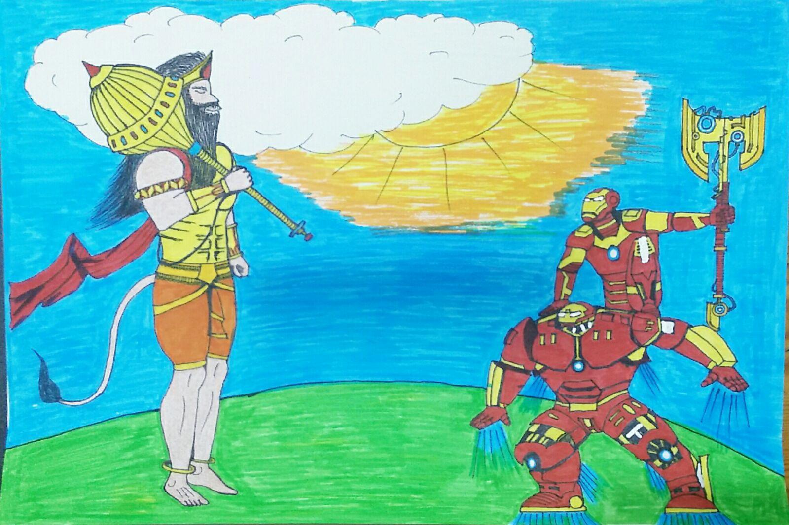 Lord Hanuman vs Hulkbuster, Ironman & The Axe