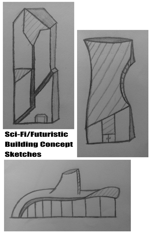 Sci-Fi/Futuristic Building Concept Sketches