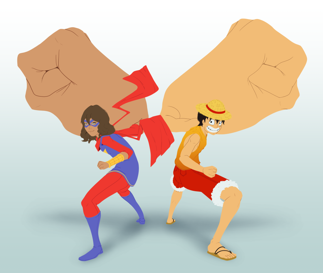Ms. Marvel and Luffy // Commission