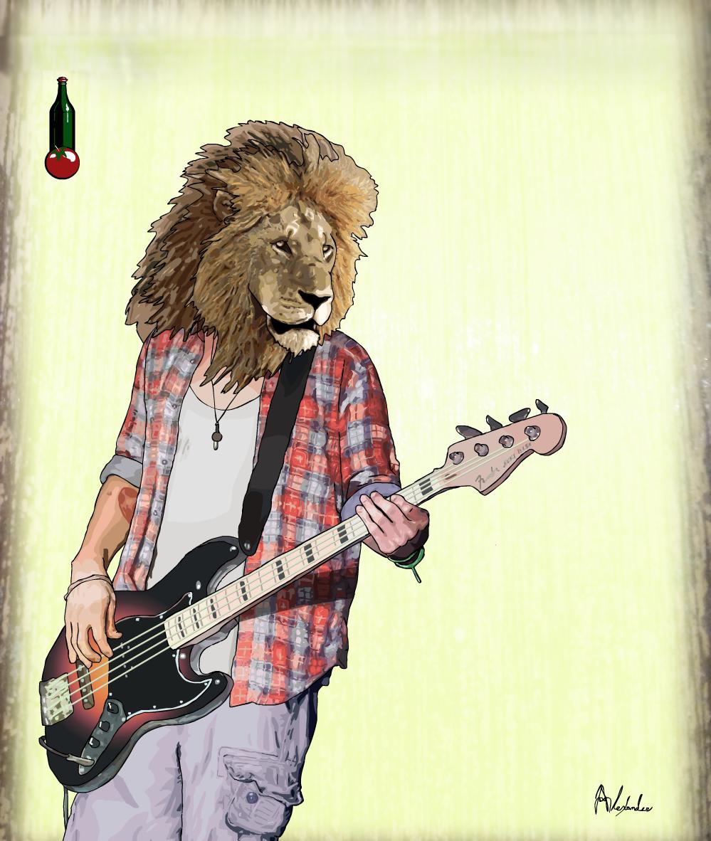 Lion Musician - Bamboo