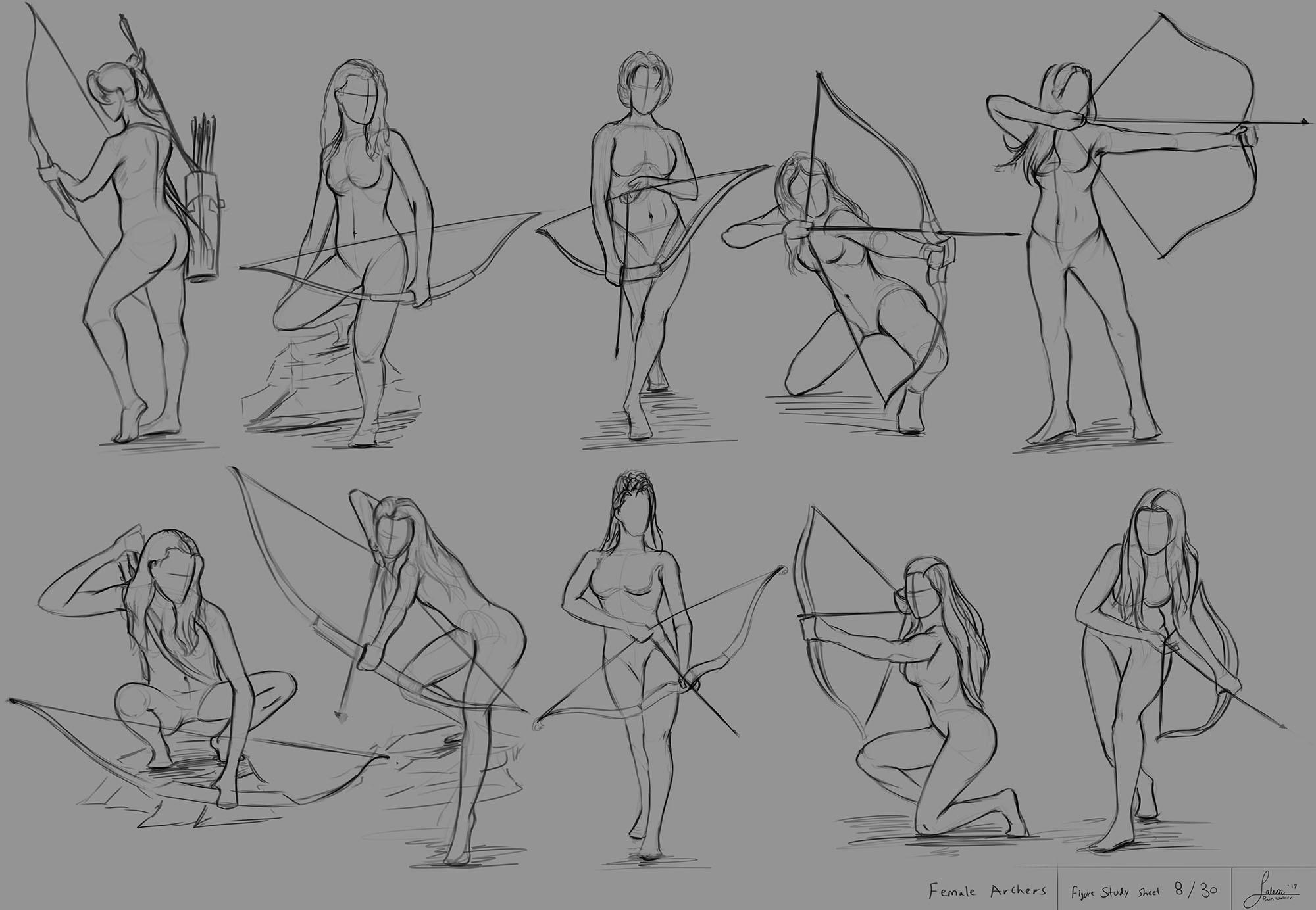 Figure Drawing Sheet 8/30 (Female Archers)