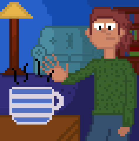 Dude warming his hand with a cup of tea in his living room
