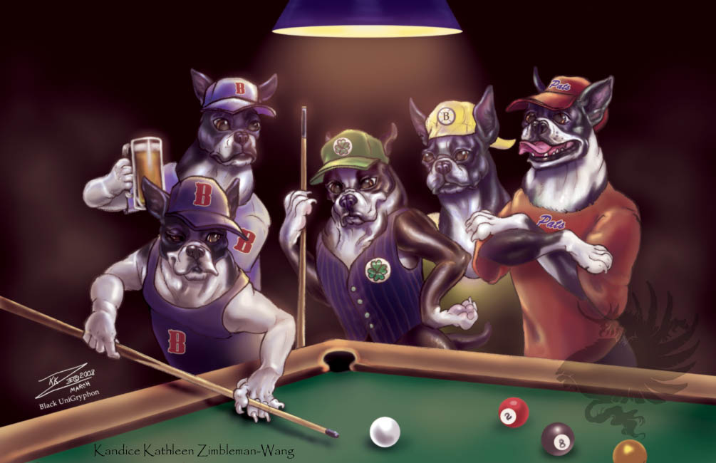 Boston Dogs Shooting Pool