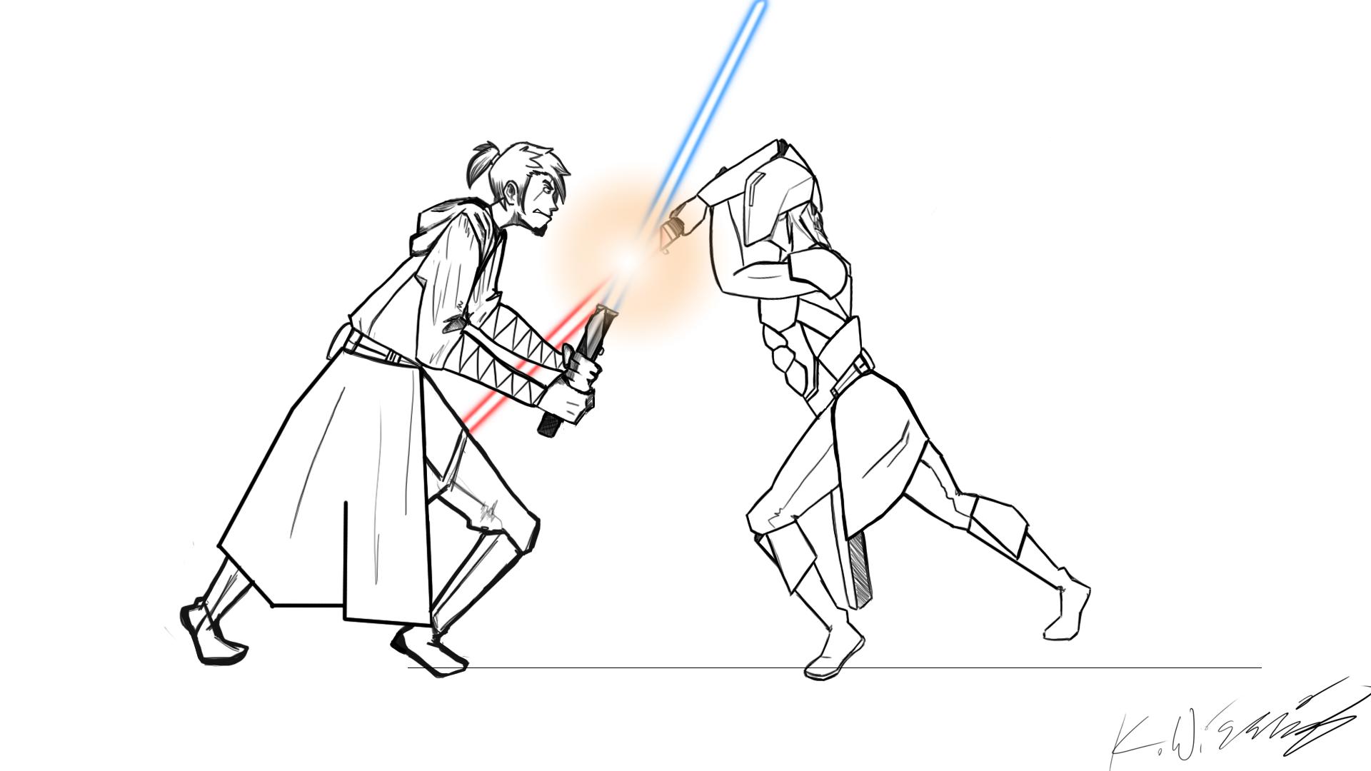 Master Matu vs. Darth Sados (Line-work)