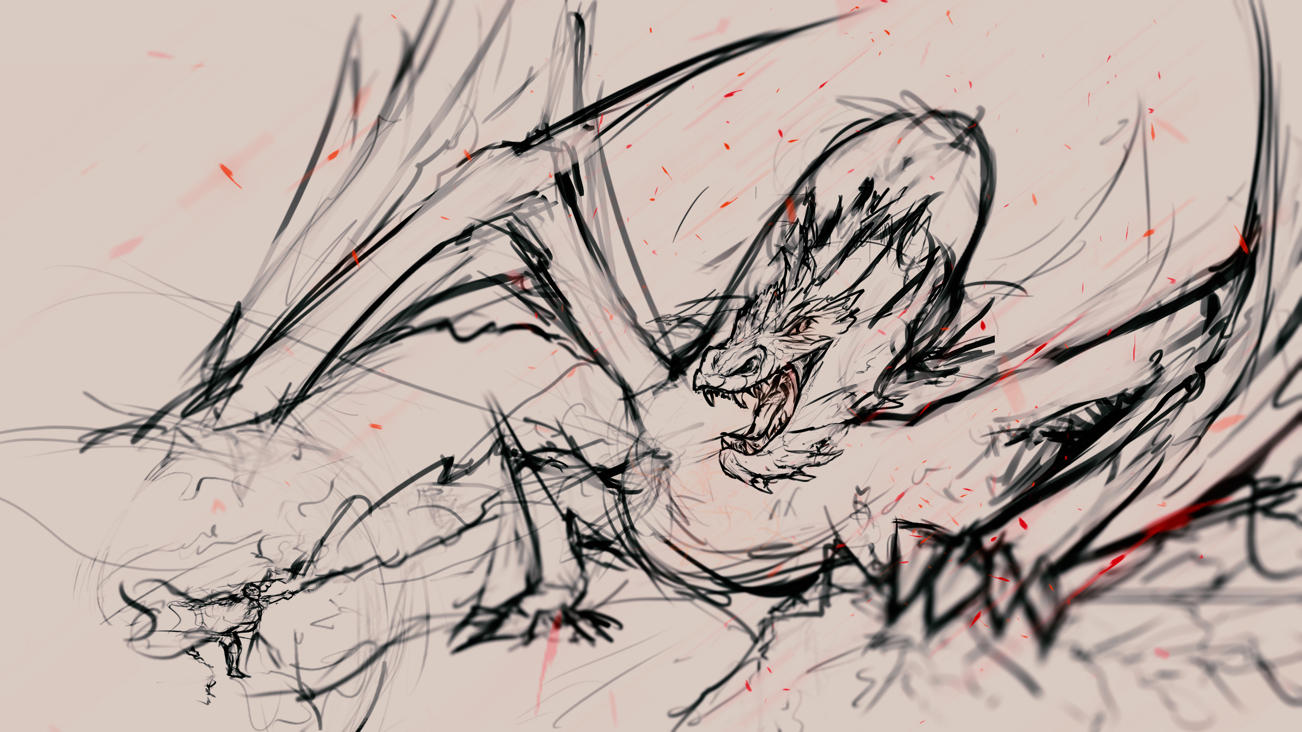 Harry vs Smaug (first sketch)
