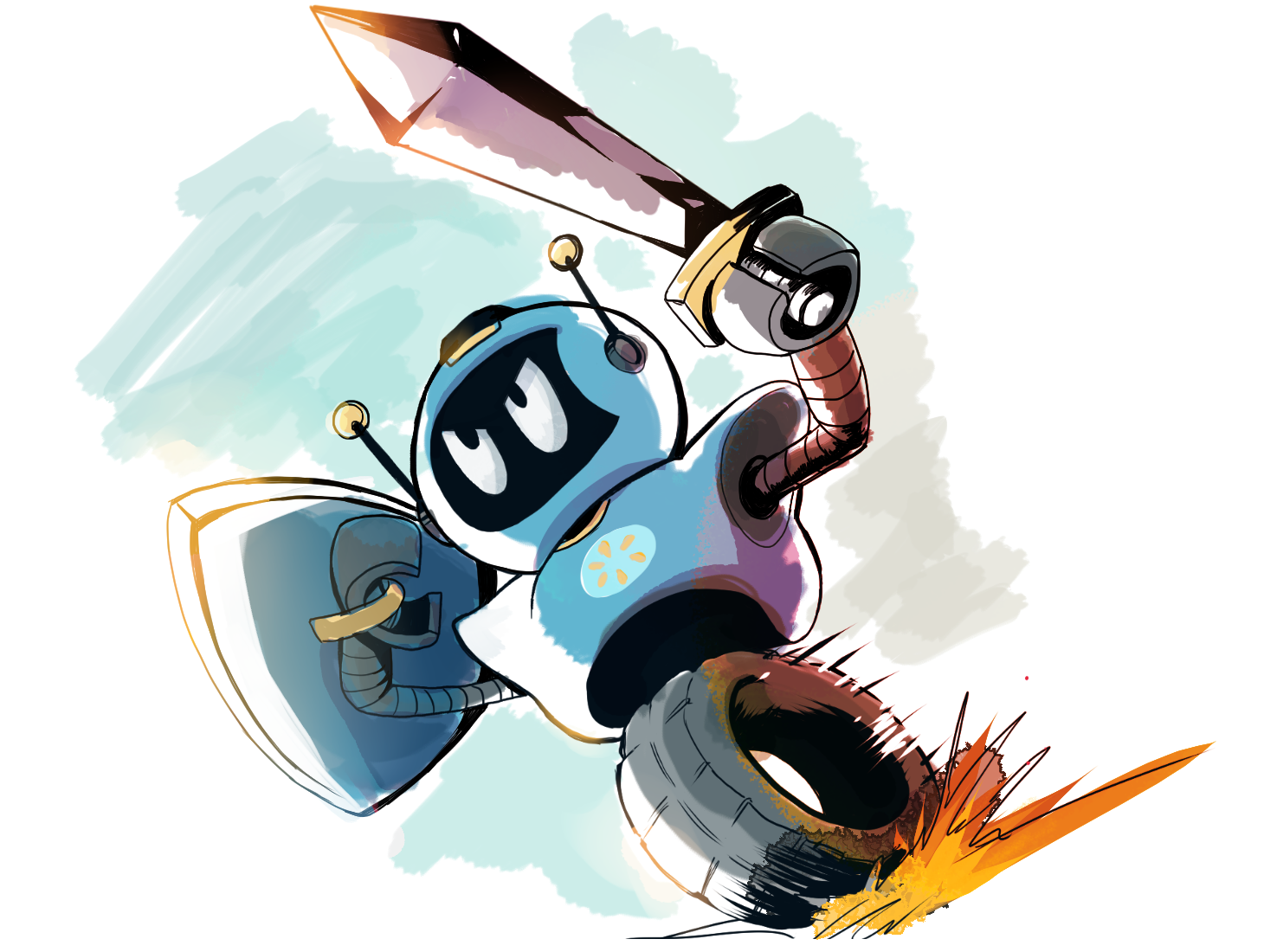 A robot with a sword