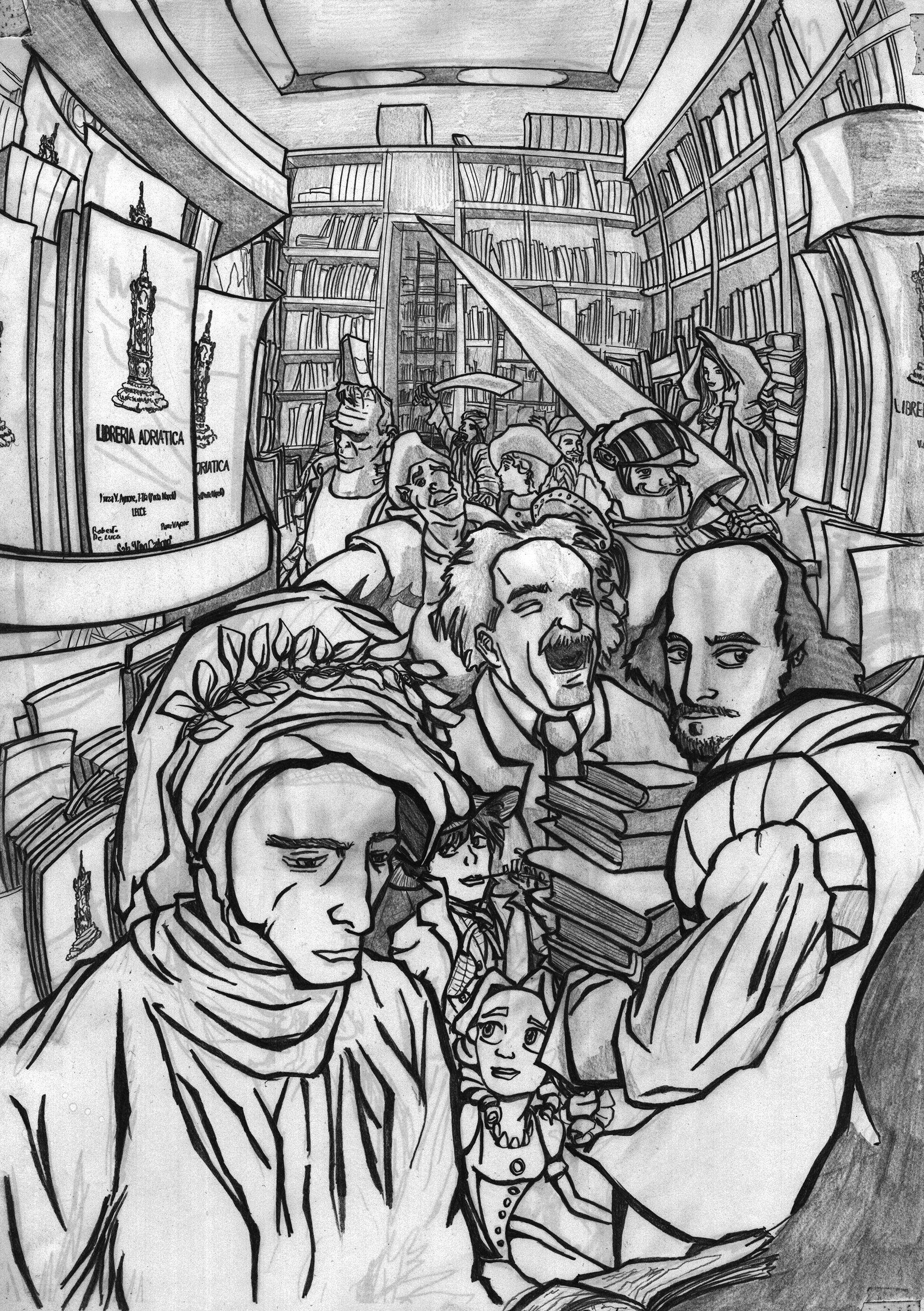 POSTER IN PENCIL FOR A LIBRARY - commission