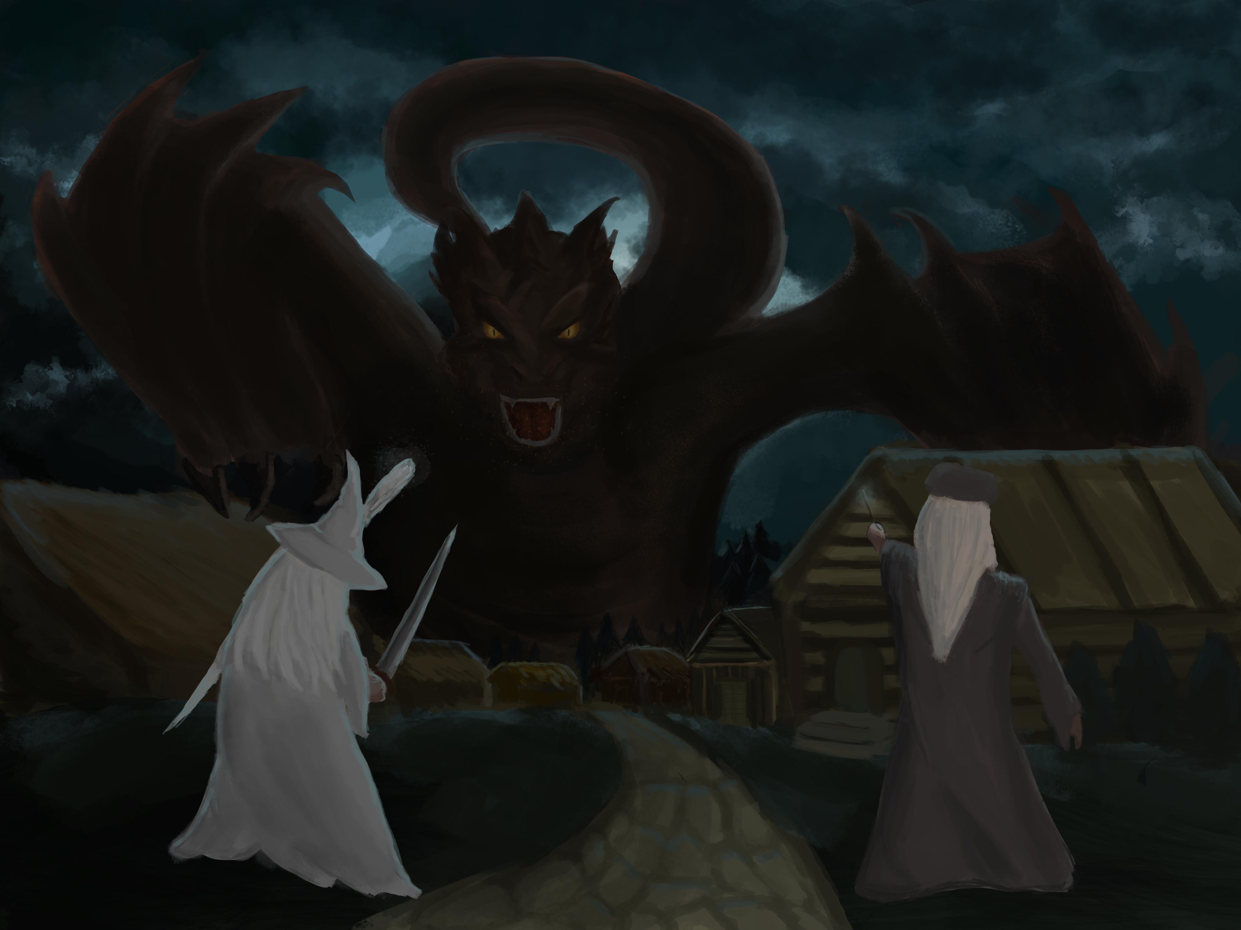 Dumbeldore and Gandalf versus Smaug