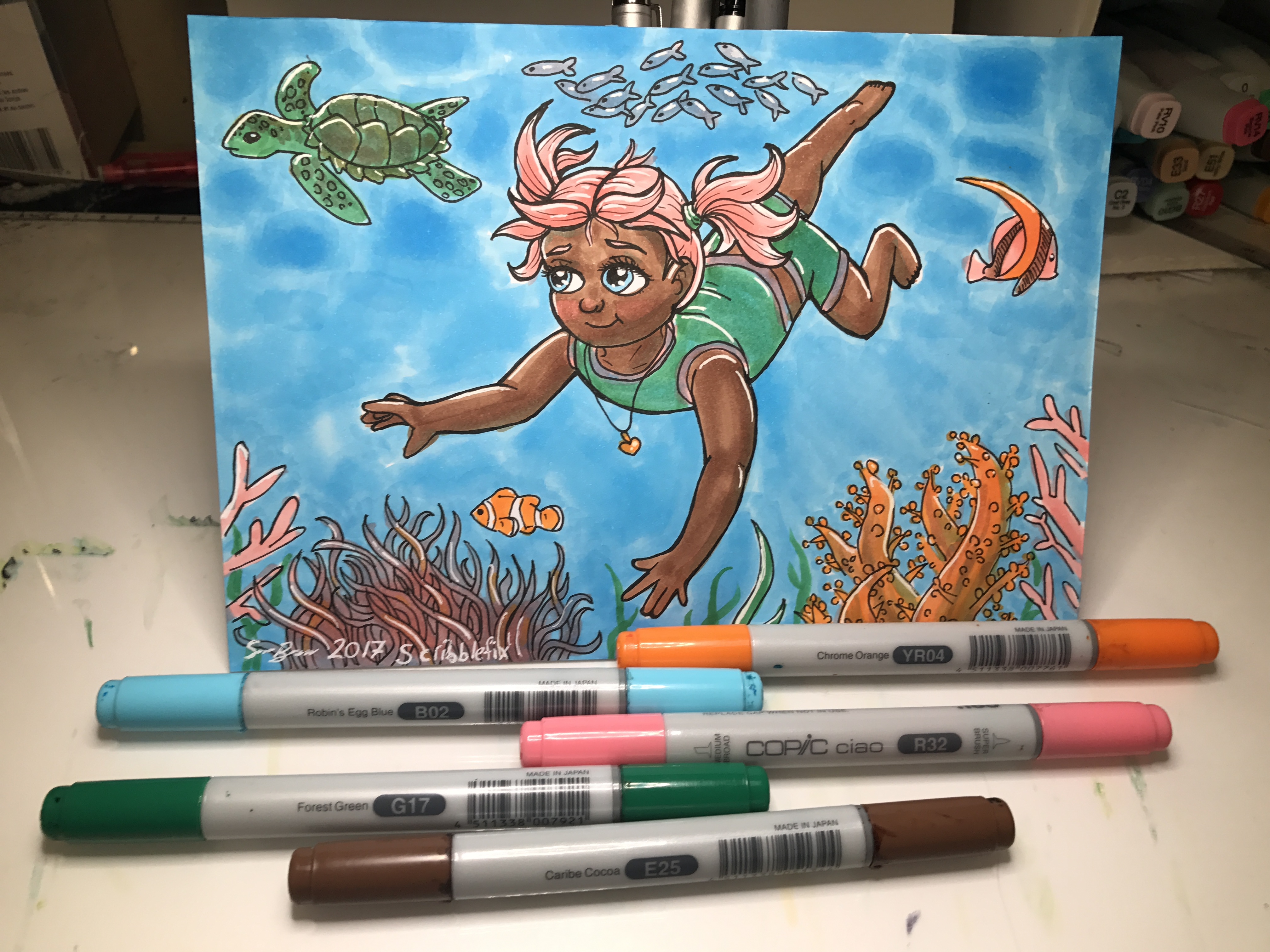 In The Water Copic Illustration