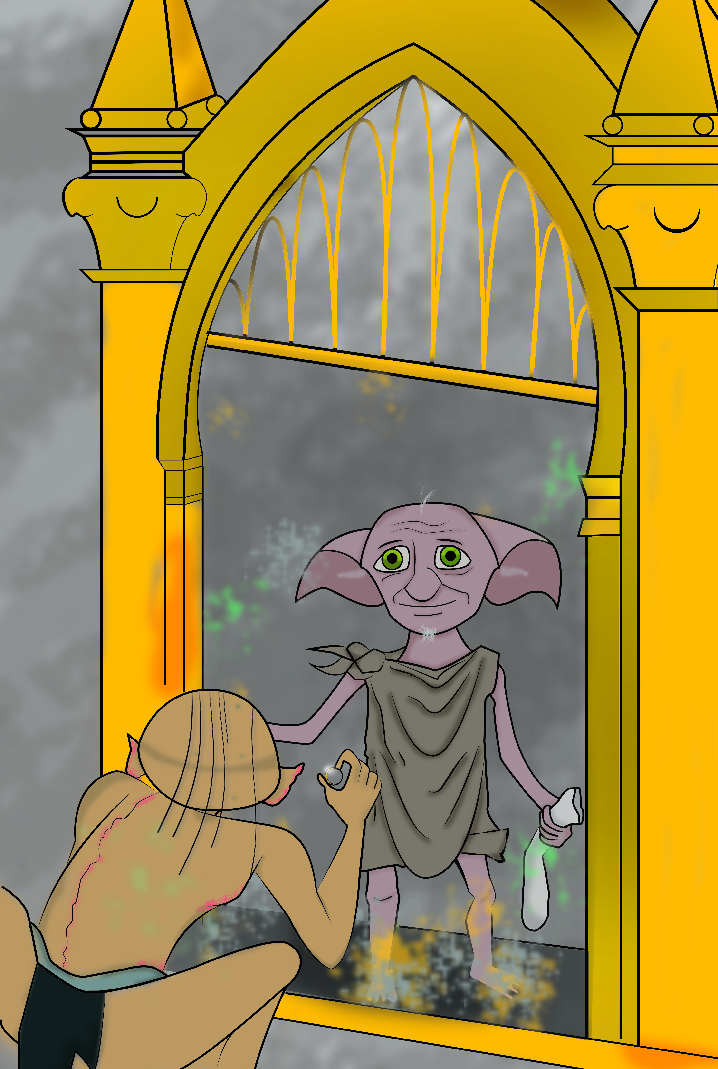 Gollum Sees Dobby in the Mirror of Erised