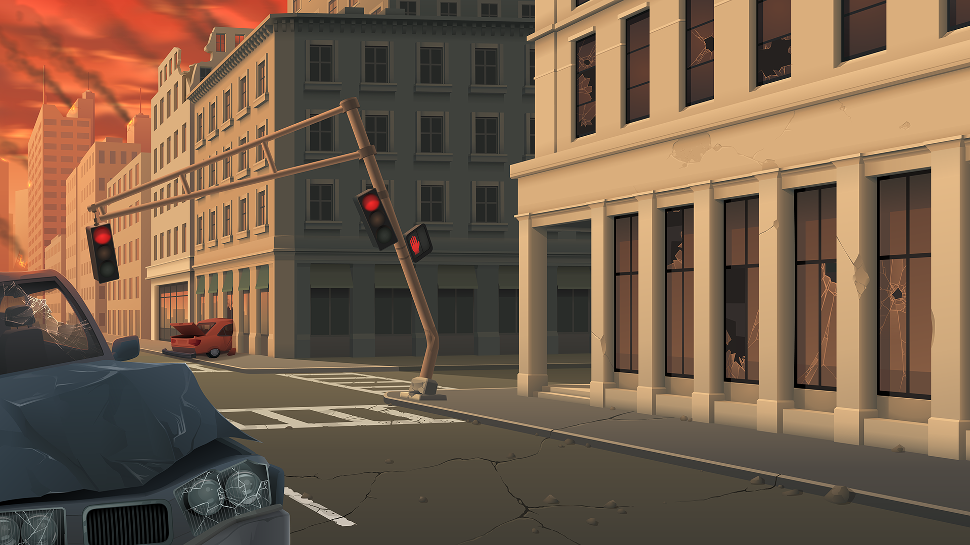 City Street Under Attack - Background Art