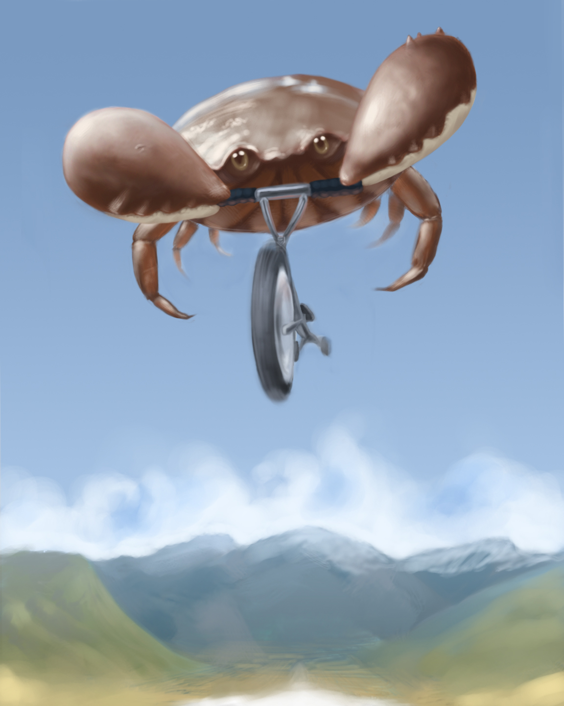 Crab on a tricycle