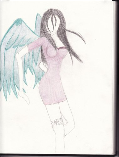 Angel with blue/green wings