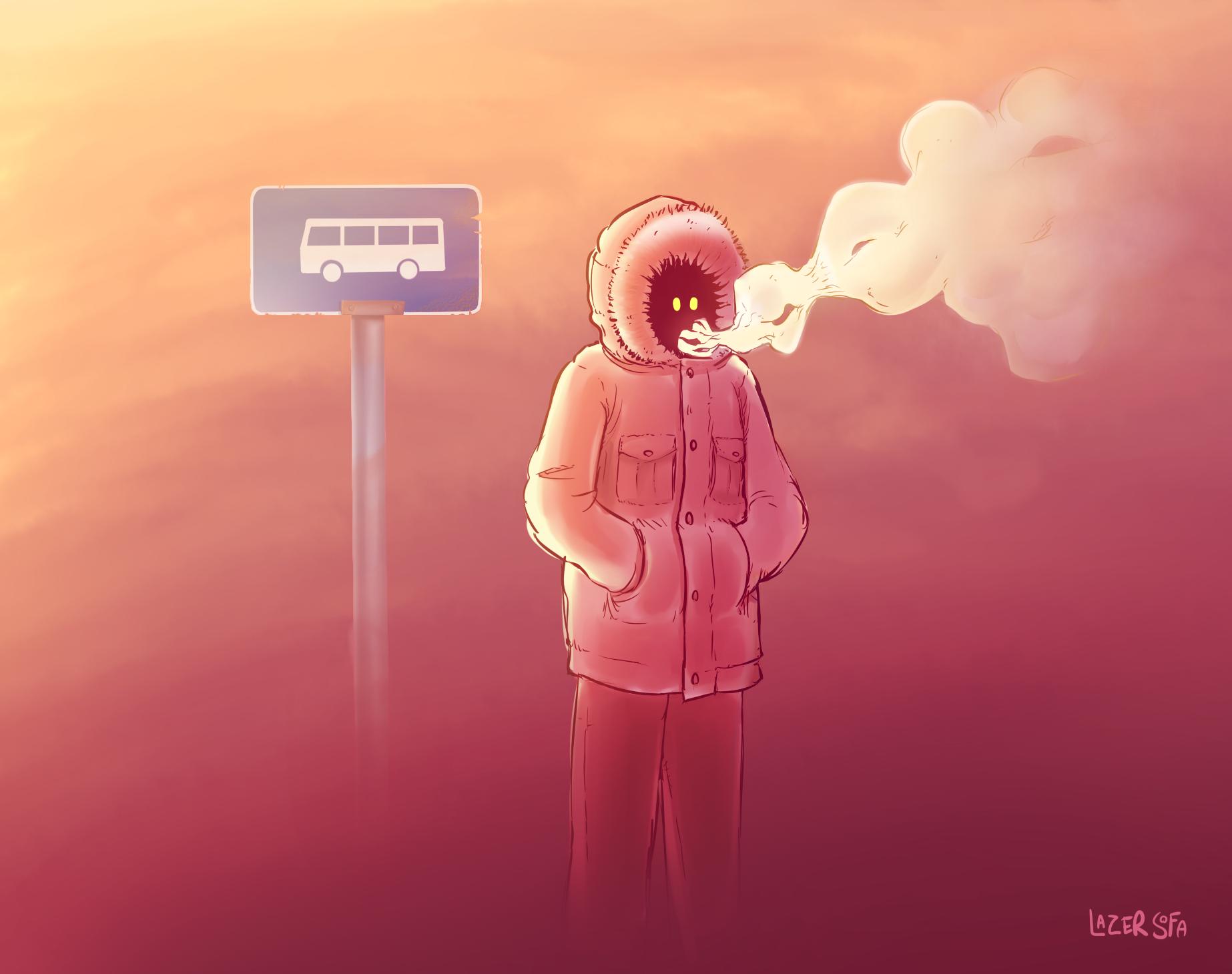 smoky bus stop